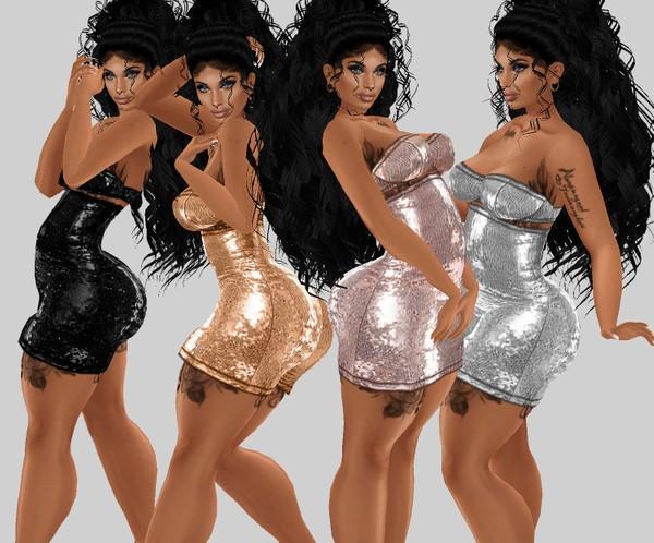IMVU file sales: sequin and tattoos: BBW curvy dress