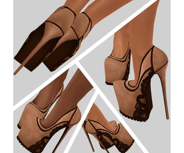 IMVU file sales - lace beige platforms