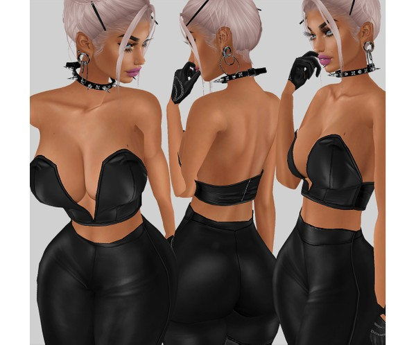 IMVU file sales - LEATHER - busty strapless top