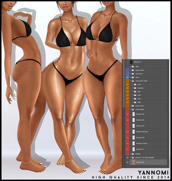 Y: IMVU body add ons - strech marks, cellulite, oil shine, freckles, beauty marks! LAYERABLE!