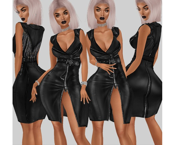 IMVU file sales - leather & rhinestones - dress midi