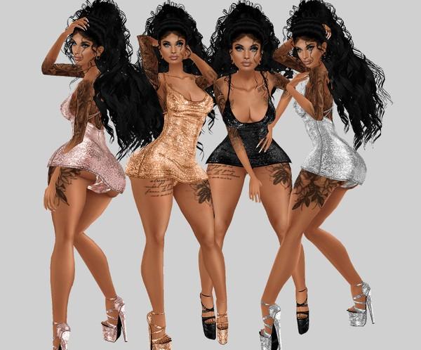 IMVU file sales: sequin and tattoos: mini dress