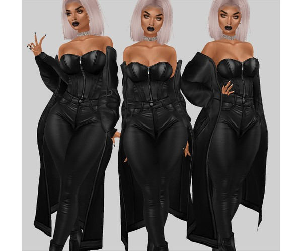 IMVU file sales - leather & rhinestones - layerable coat