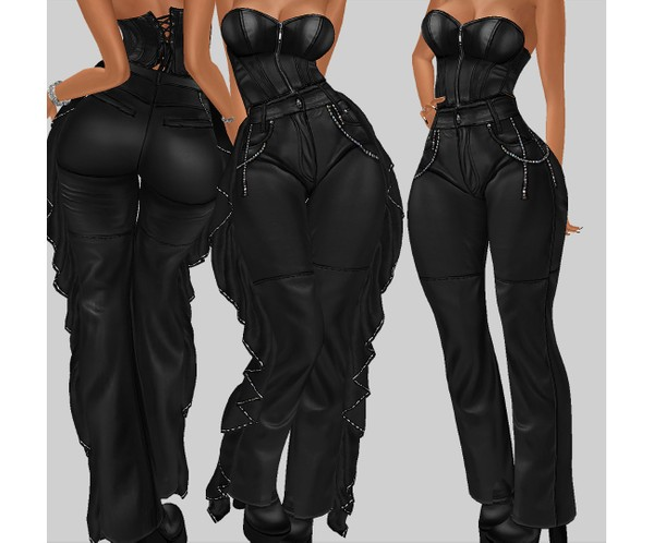 IMVU file sales - leather & rhinestones - ruffle bottom