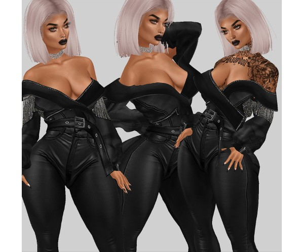 IMVU file sales - leather & rhinestones - jacket