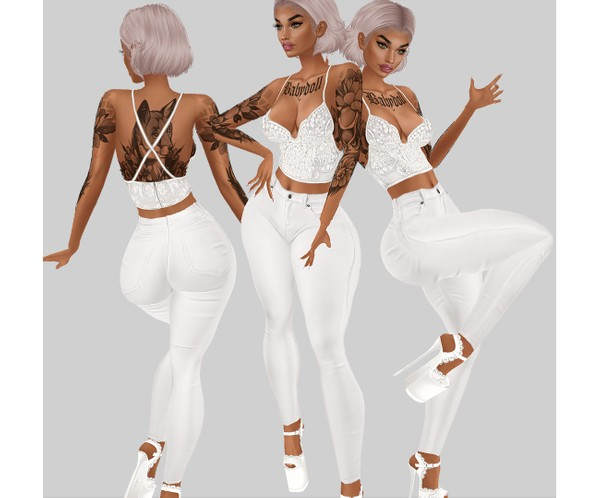 IMVU file sales - white lace - outfit