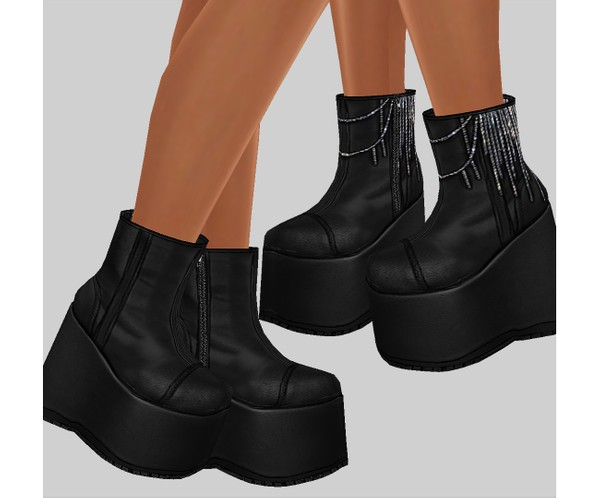 IMVU file sales - leather & rhinestones - wedges v.2