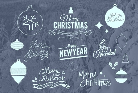 FREE Nice lettering badges and icons for XMAS & NEW YEAR (Vector & PSD)