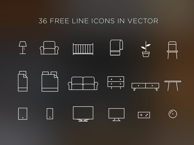 36 LINE ICONS IN VECTOR