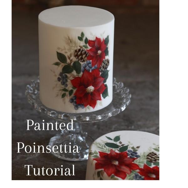 Painted Poinsettia cake tutorial