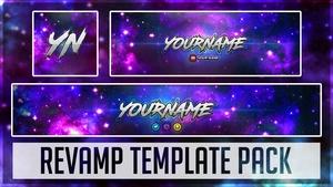 Galaxy Revamp Pack | Photoshop Template (YouTube Banner, Twitter Header & Avatar)