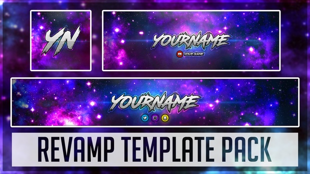 Galaxy Revamp Pack | Photoshop Template (YouTube Banner, Twitter Header & Avatar)