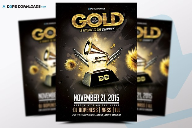 The Solid Gold Awards Flyer Template Dope Downloads