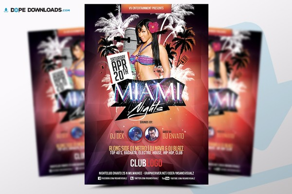 Miami Nights Flyer Template