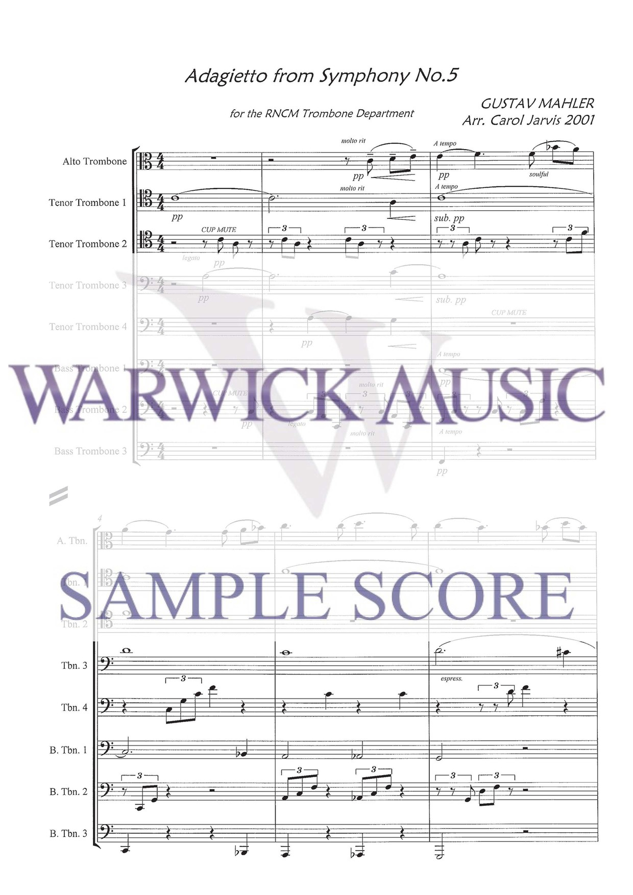 5Th Symphony mahler arr. carol jarvis: adagietto from mahler 5th symphony - trombone  octet