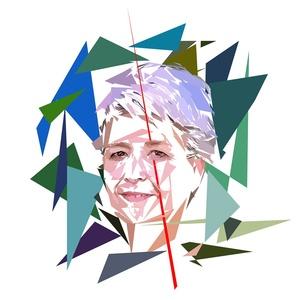 Portrait de Claudie Haigneré - 300 dpi - format 15 cm x 15 cm