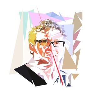 Portrait de Michel Onfray - 300 dpi - format 30 cm x 30 cm