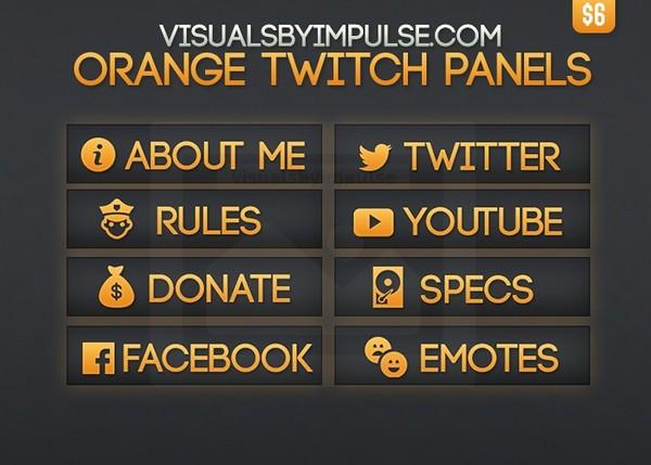 Orange Twitch Panels