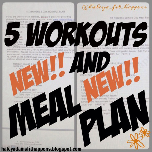 5-day workout and meal plan 11/3-11/9