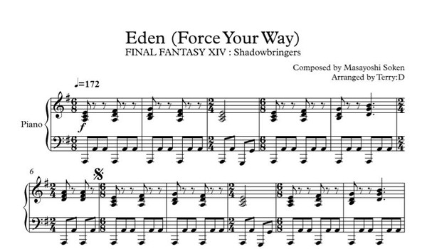 FFXIV - Force your way for piano solo(sheetmusic + MIDI)