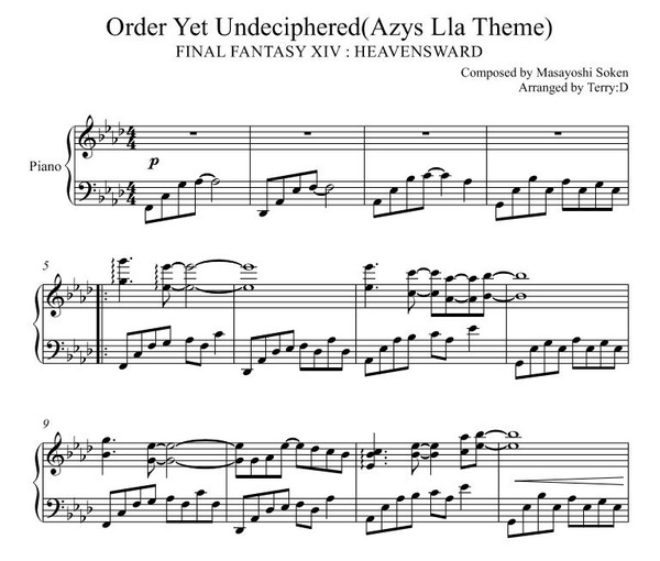 FINAL FANTASY XIV - Azys Lla Theme(Order Yet Undeciphered) piano cover (Arr.by Terry:D)