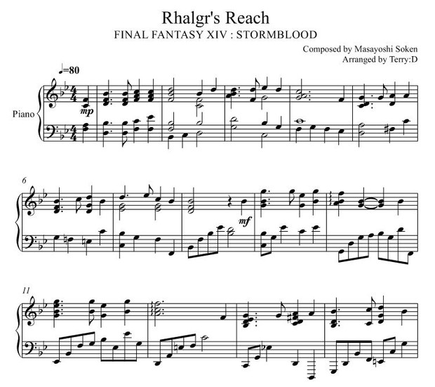Final Fantasy XIV : Stormblood - Rhalgr's Reach for piano solo ( Arr.by Terry:D )