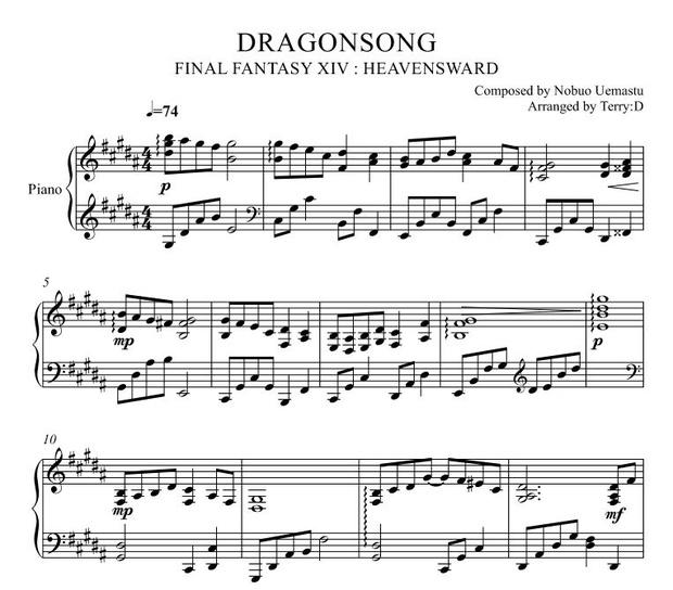 Dragonsong(original key - Arr.by Terry:D) for Piano solo from FINAL FANTASY XIV : HEAVENSWARD