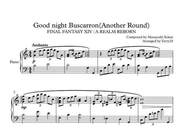 Goodnight Buscarron(Another round) sheetmusic+ MIDI