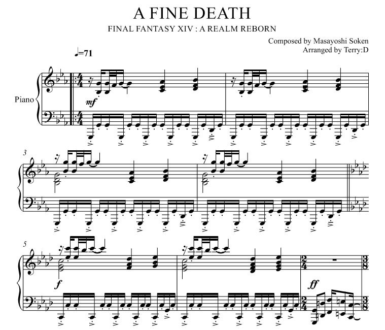 """""""A Fine Death(Arr.by Terry:D)"""" For Piano Solo From FFX"""