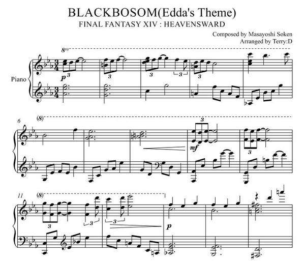 Blackbosom(FFXIV Edda's Theme) for Piano solo(Arr.by Terry:D)