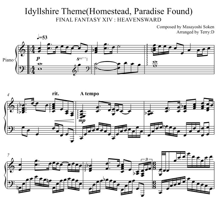 Idyllshire Theme (easy C Major Key