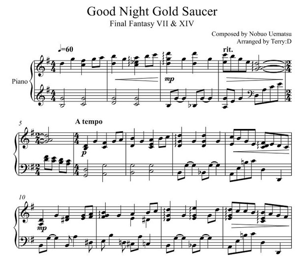 Final Fantasy XIV & VII - Good night Gold Saucer for piano solo (Arr.by Terry:D)