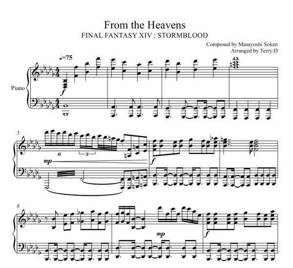 FFXIV - From the Heavens for piano (Arr.by Terry:D)