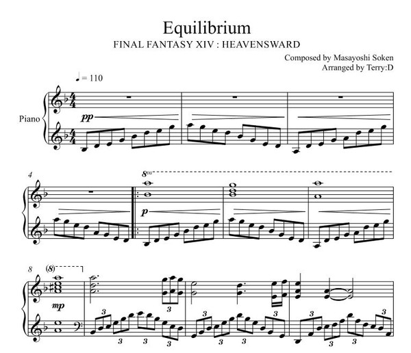 Equilibrium(FFXIV Sophia Theme) for piano solo(Arr by Terry:D)