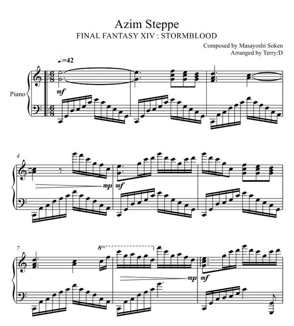 Final Fantasy XIV : Stormblood - Azim Steppe for piano solo (Arr.by Terry:D)