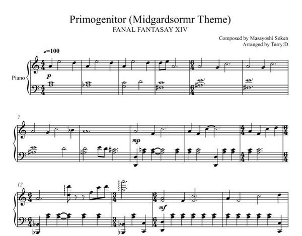 FFXIV - Primogenitor (Midgardsormr theme)for piano(SHEEMUSIC + MIDI)