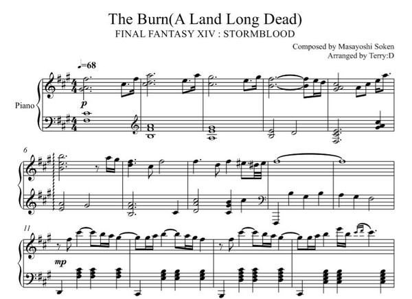 FFXIV - The Burn ( A Land Long Dead ) for piano solo