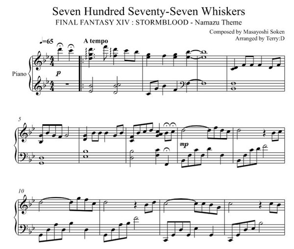 Final Fantasy XIV : Namazu theme ( Seven Hundred Seventy-Seven Whiskers ) for piano solo. by Terry:D