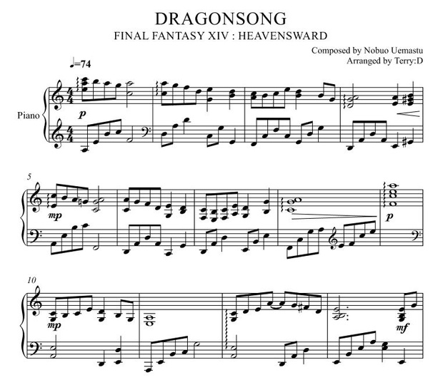 Dragonsong(Easy key - Arr by Terry:D) for Piano solo from FINAL FANTASY XIV  : HEAVENSWARD