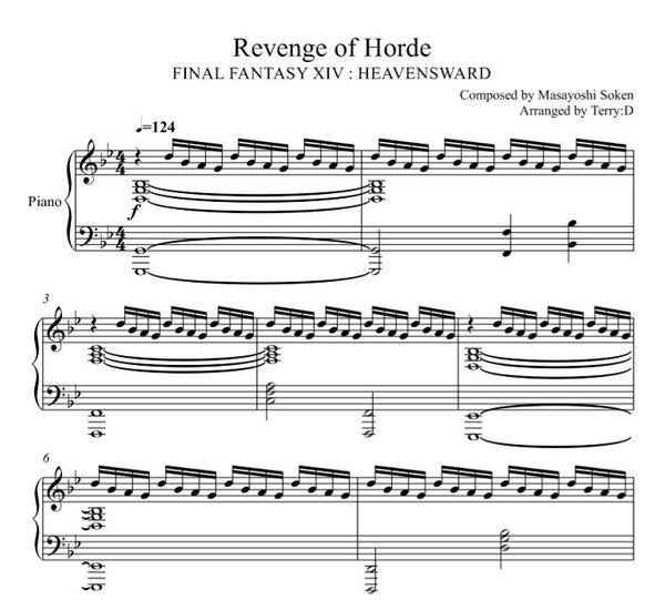 Final Fantasy XIV : HEAVENSWARD - Revenge of the Horde(Arr.by Terry:D) for piano solo. Nidhogg theme