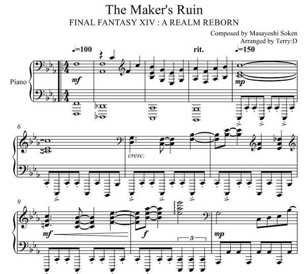 Final Fantasy XIV : The Maker's Ruin for Piano solo (Arr.by Terry:D)