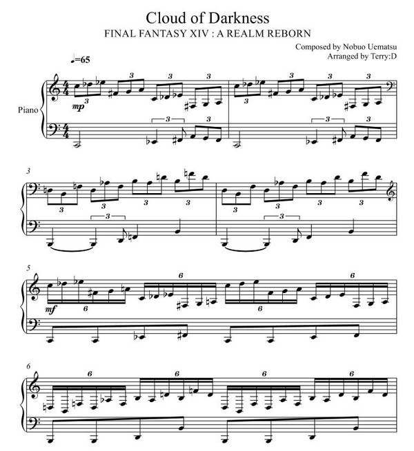 Final Fantasy - Cloud of Darkness for piano solo (Arr.by Terry:D)
