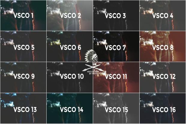 16 VSCO filter pack for photoshop
