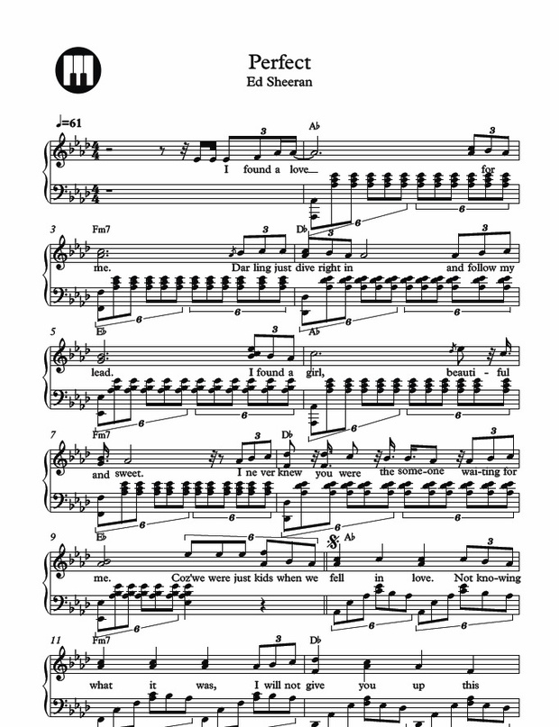 Ed Sheeran - Perfect Piano Sheet Music