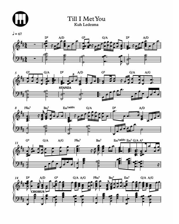 Till I Met You Piano Sheet Music