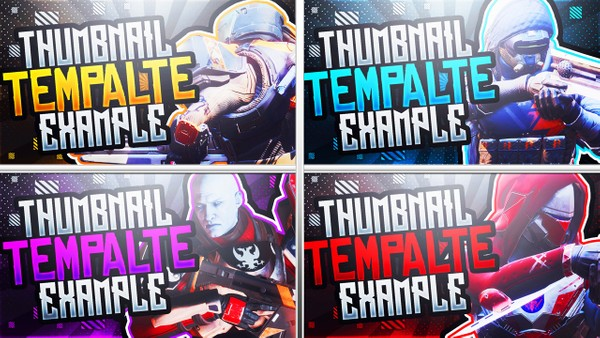Destiny 2 - Thumbnail Template Pack - YouTube Thumbnail Template for Photoshop