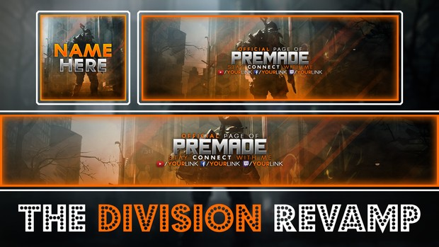 The Division Social Media Revamp Template Pack - Avatar, YouTube Banner, Twitter Header