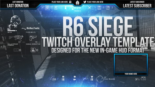 Rainbow Six Siege Twitch Live Stream Overlay Template - Photoshop Template