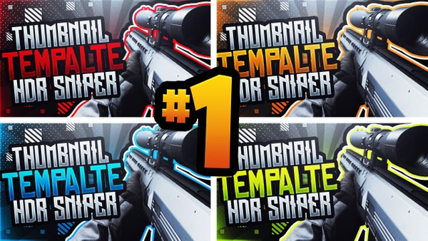 Modern Warfare YouTube Thumbnail Template Pack #1 - HDR Sniper Rifle Edition