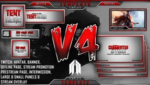 Ultimate Customizable Twitch Live Stream Template Pack V4 - Photoshop Template